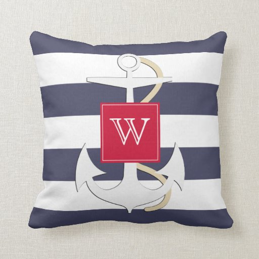 Navy Stripes Nautical Anchor Cushion