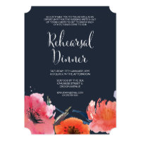 Navy Watercolor Floral Rehearsal Dinner Invite