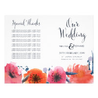 Navy Watercolor Floral Wedding Program Booklet 8.5