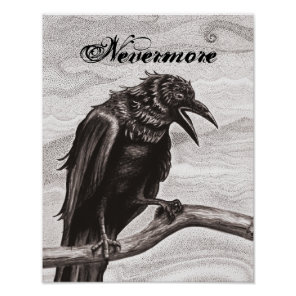 Nevermore Raven in the Mist Poster