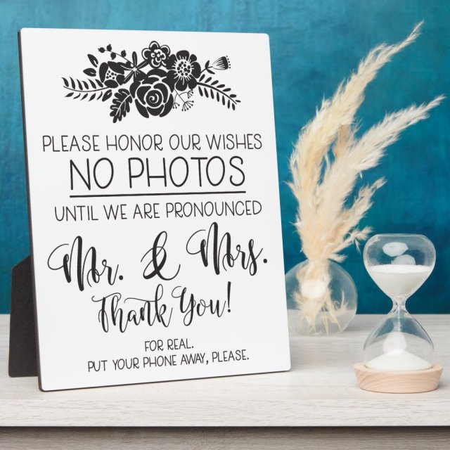 No Cell Phone Photos Wedding Ceremony Plaque