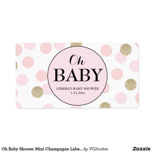 Oh Baby Shower Mini Champagne Label