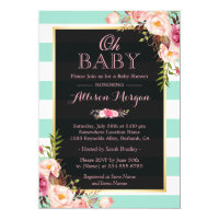 Oh Baby Shower Pink Floral Mint Green Stripes Card