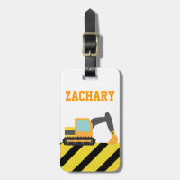 Orange Excavator, Construction Vehicles, for Kids Bag Tag