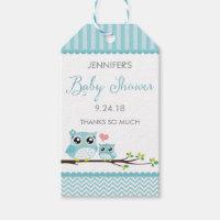 Owl Baby Shower Favor Tag   Blue Chevron Hang Tag