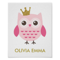 Owl Nursery Art for a Girl Poster