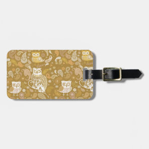 Owl paisley beige pattern luggage tag