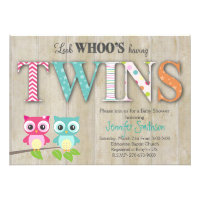 Owl TWINS Baby Shower - Look Whoo's Having a Baby Card