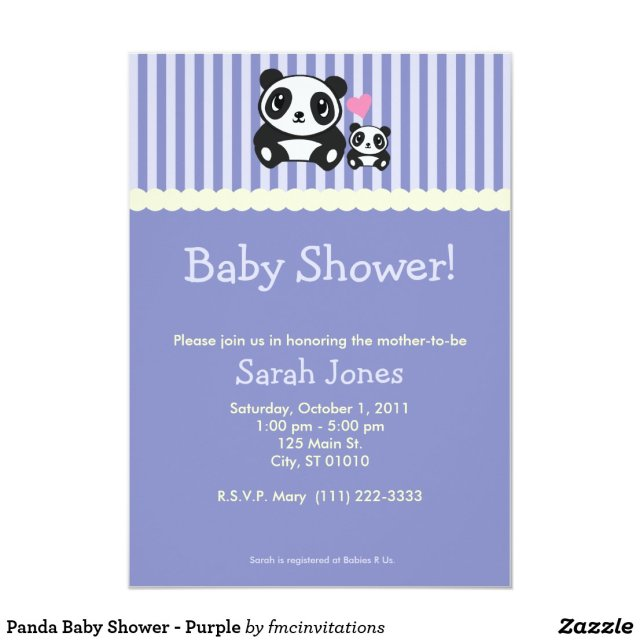 Panda Baby Shower - Purple