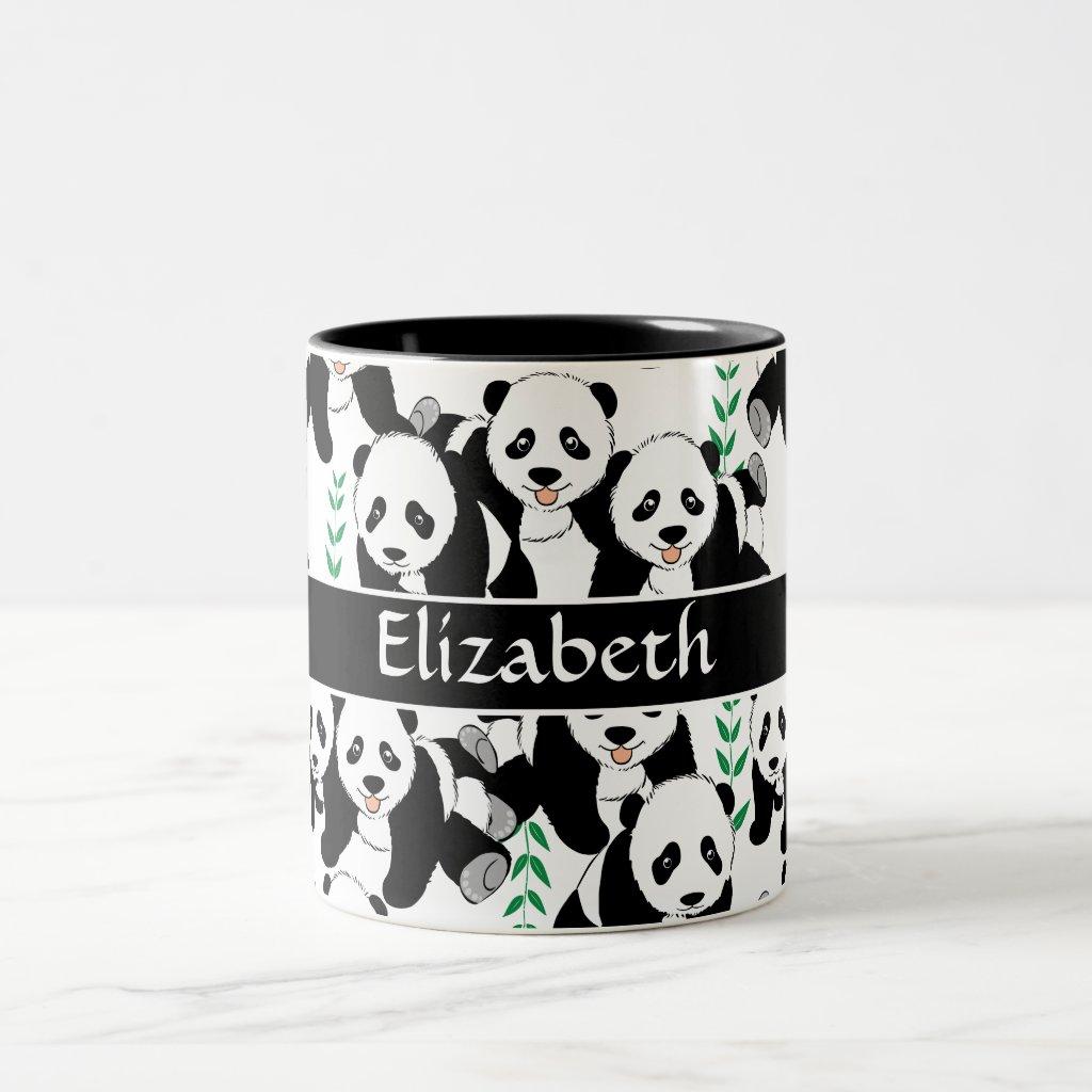 Panda Bears Graphic Pattern to Personalise Two-Tone Coffee Mug