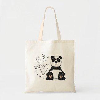 panda love tote bag