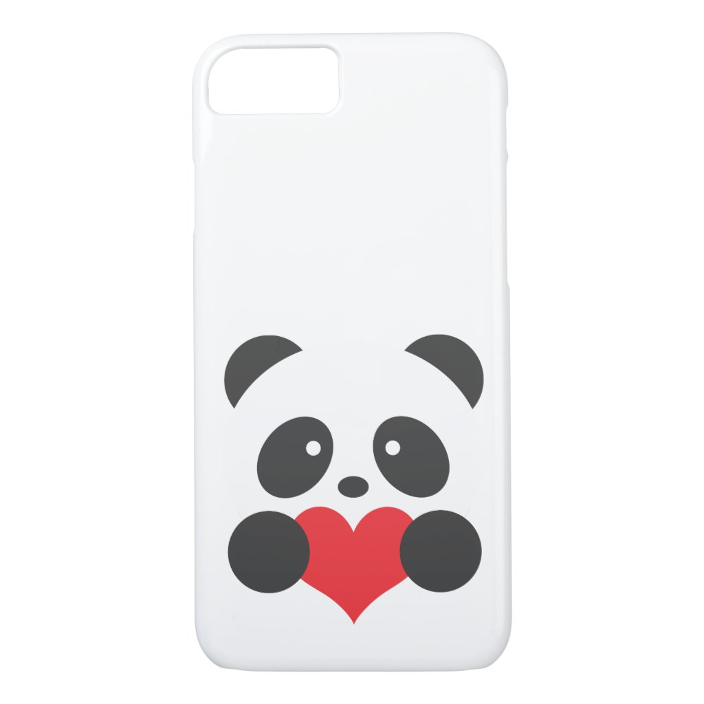 Panda with a heart iPhone case