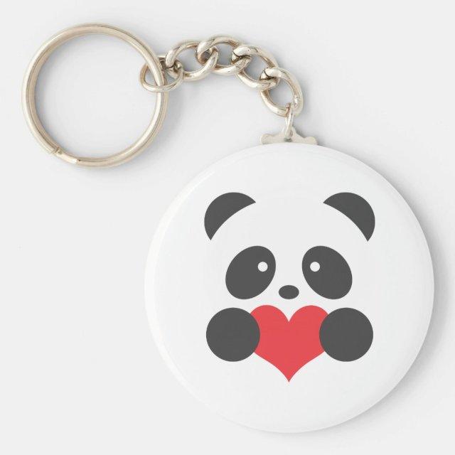 Panda with a heart key ring