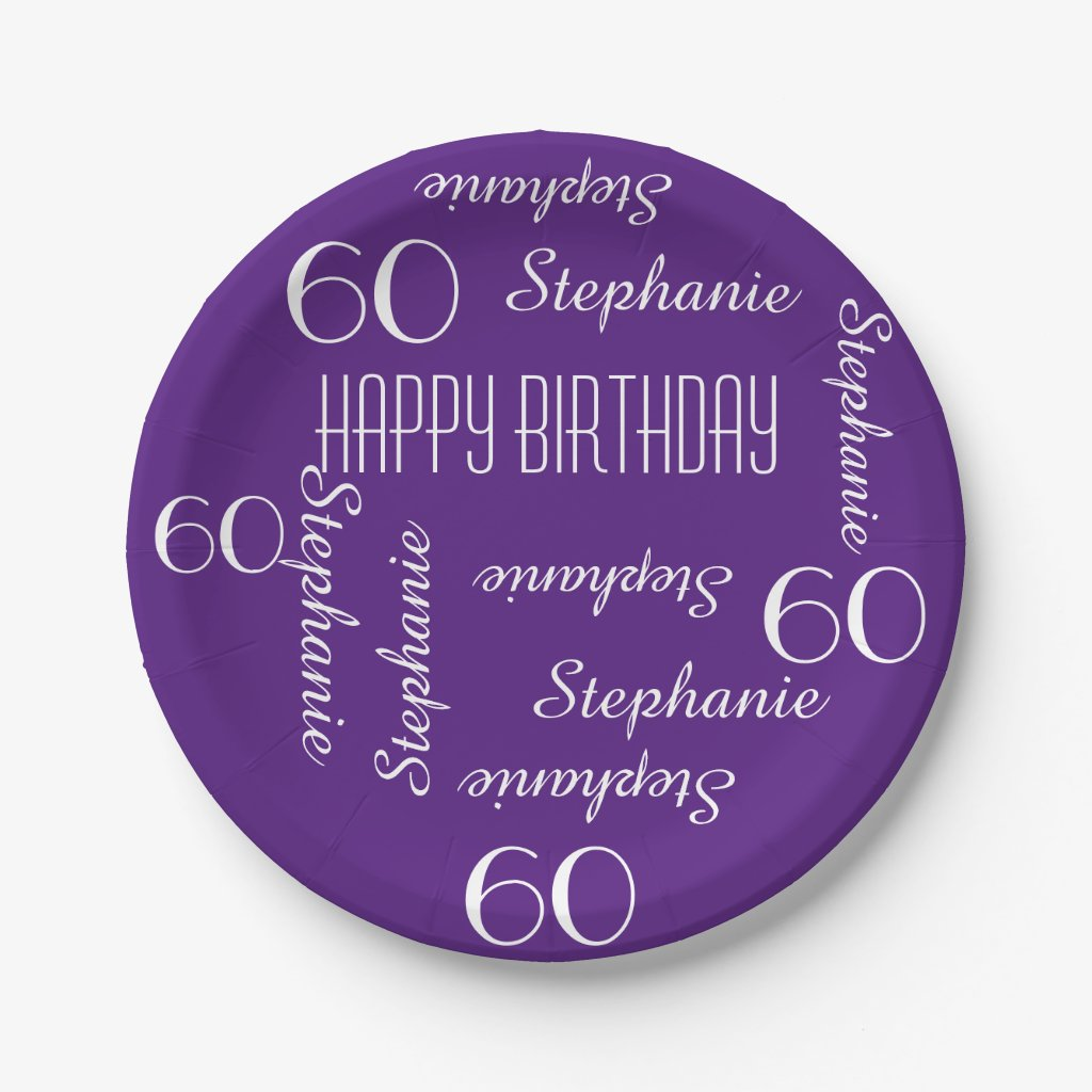 Paper Plates, 60th Birthday Party Repeating Names Paper Plate
