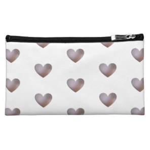 Pearl and purple hearts patterned cosmetic bag