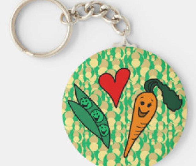 Peas Love Carrots Cute Green And Orange Design Key Ring
