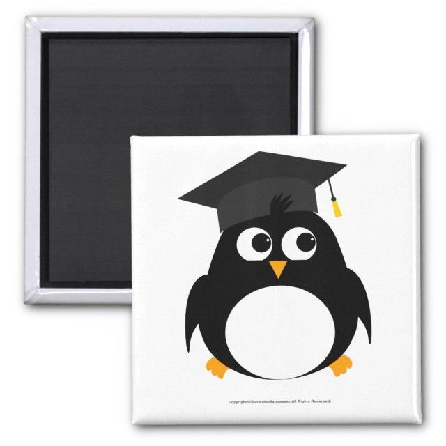 Penguin Graduation Design - Square Magnet