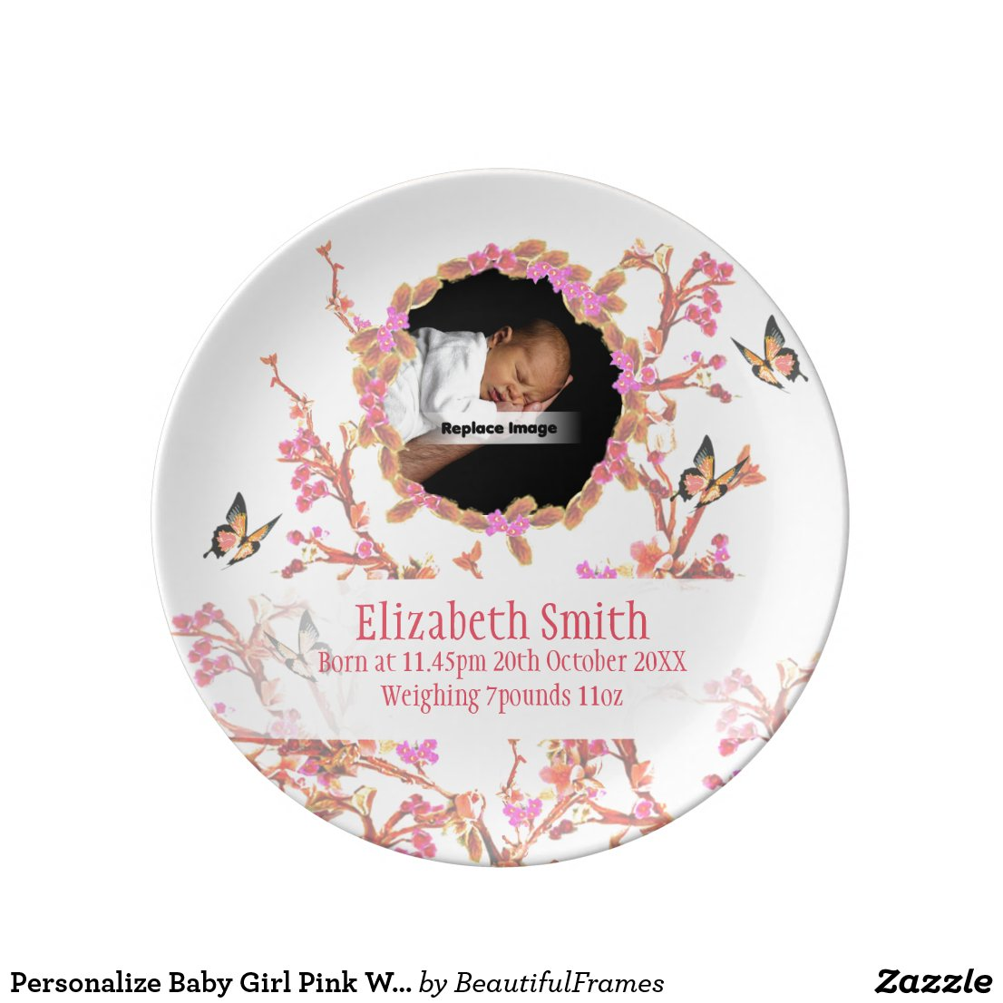 Personalise Baby Girl Plate