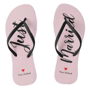 Personalise Just Married Flip Flops in pale pink