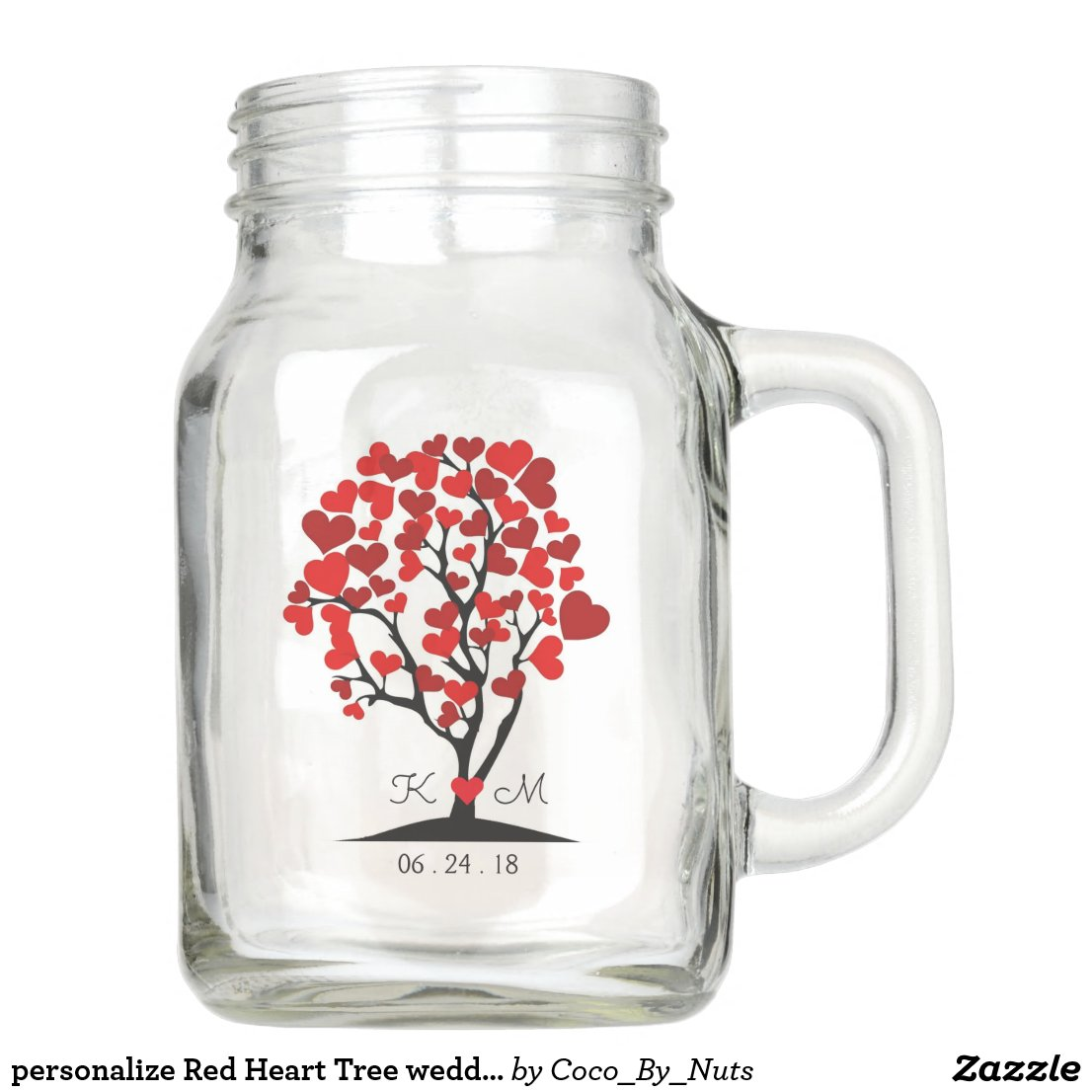 personalise Red Heart Tree wedding mason jar