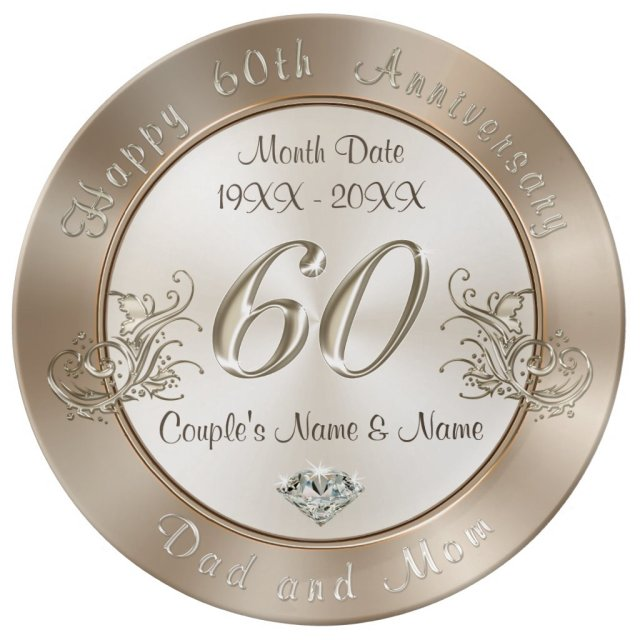 Personalised 60th Anniversary Gifts for Parents Plate
