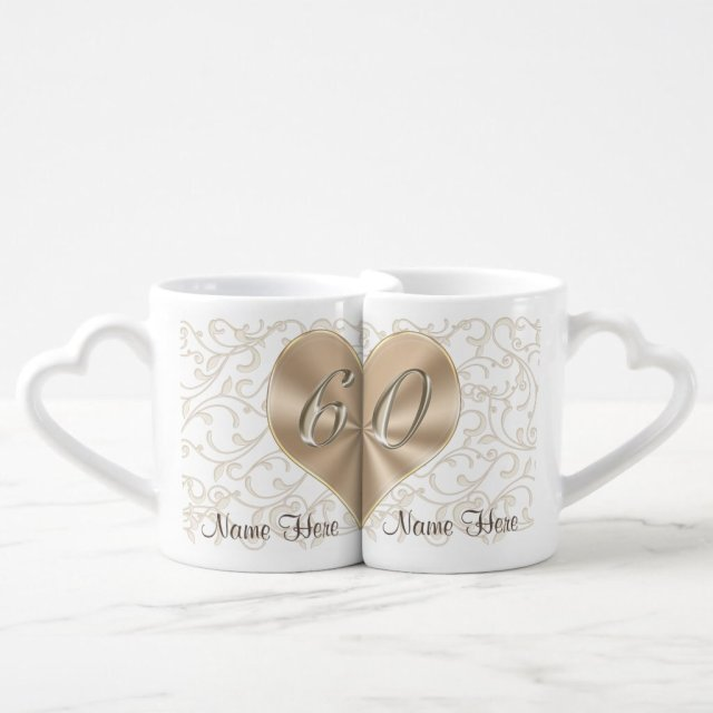 Personalised 60th Wedding Anniversary Lovers Mugs