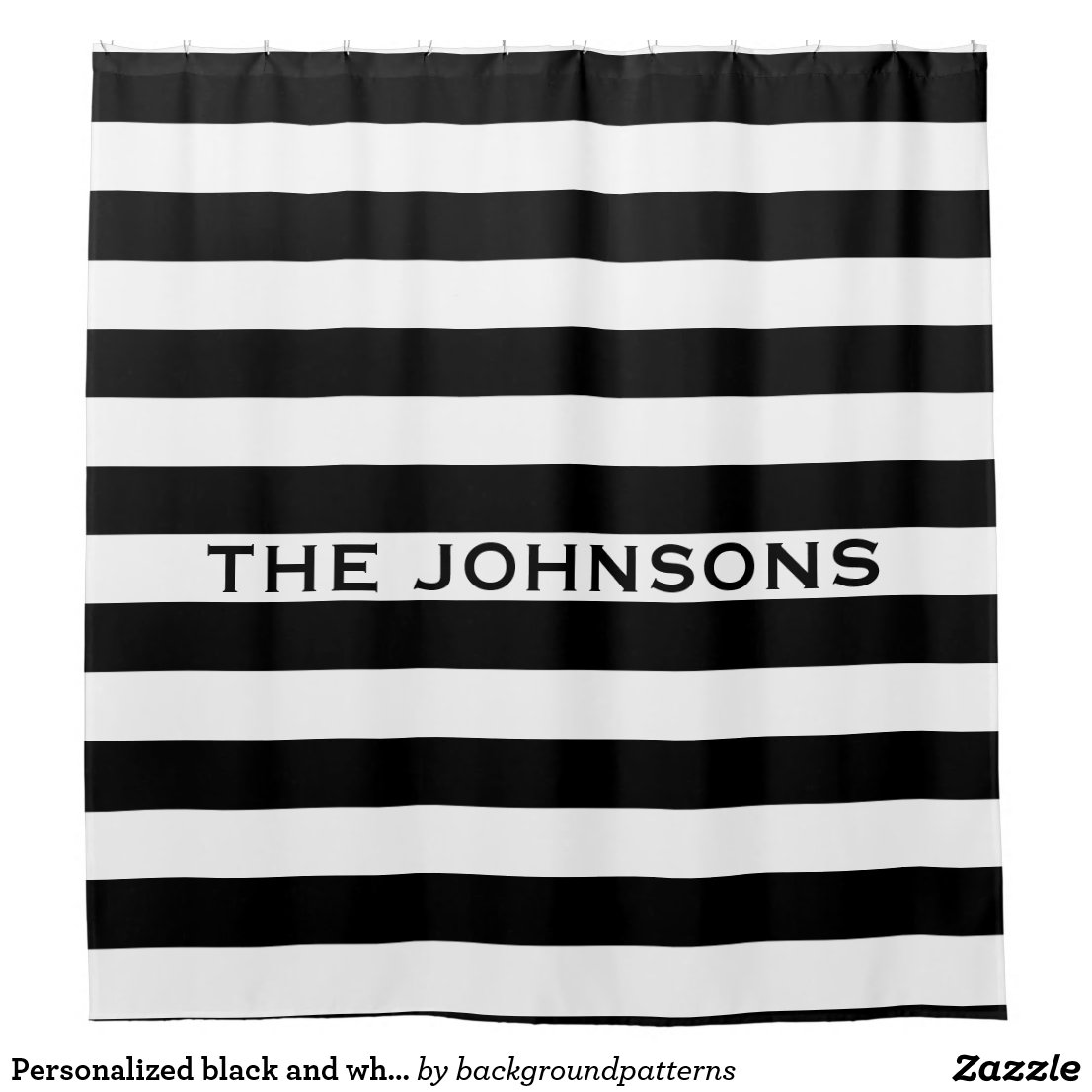 Personalised stripe shower curtain