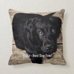 Personalised Black Lab Dog Photo and Dog Name Cushion