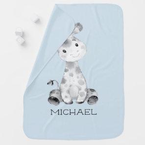 Personalised Boys Giraffe Baby Receiving Blanket