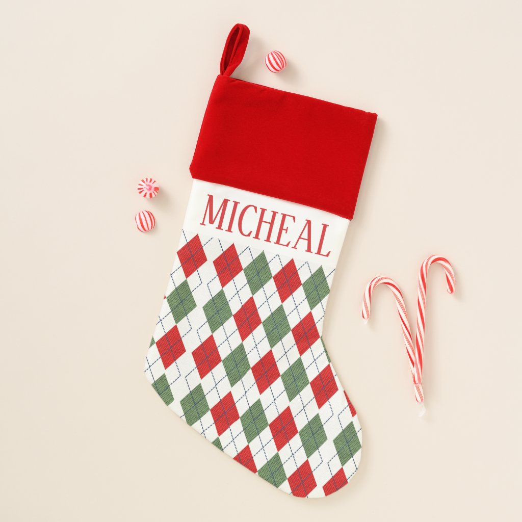 Personalised Classic Red And Green Argyle Pattern Christmas Stocking