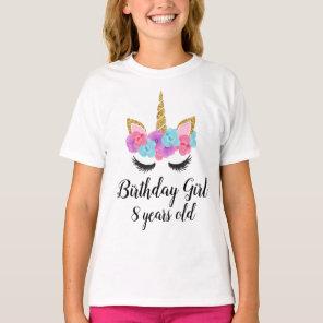 Personalised Custom Unicorn Birthday Girl T-Shirt