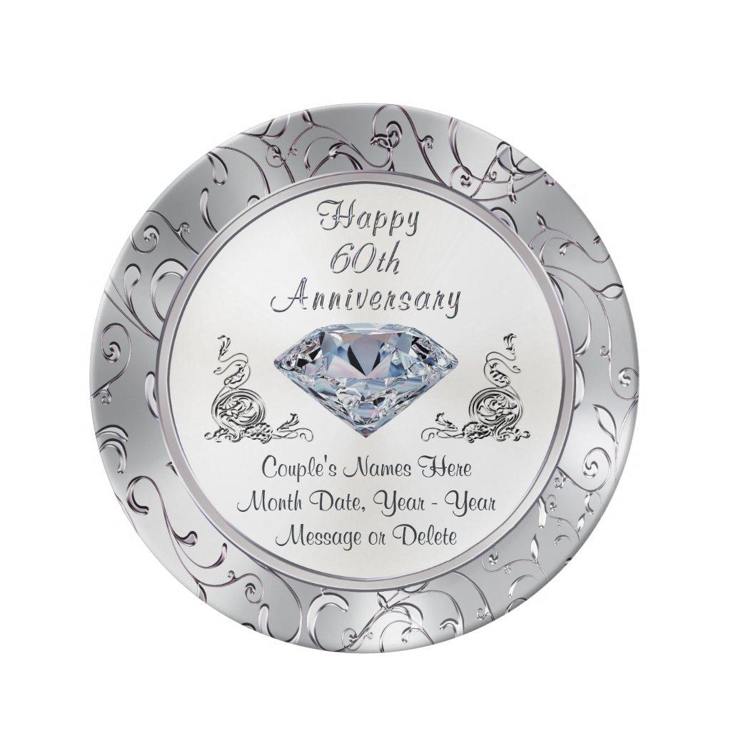 Personalised Diamond 60th Anniversary Plate