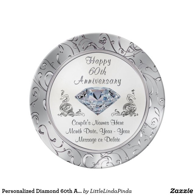 Personalised Diamond 60th Anniversary Plate