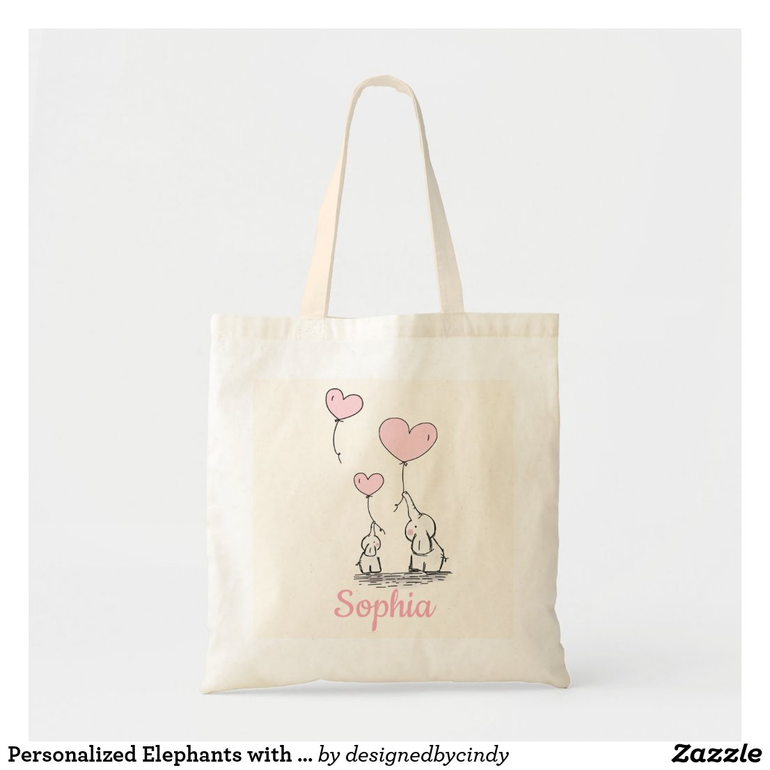 Personalised Elephants with Pink Heart Balloons Tote Bag