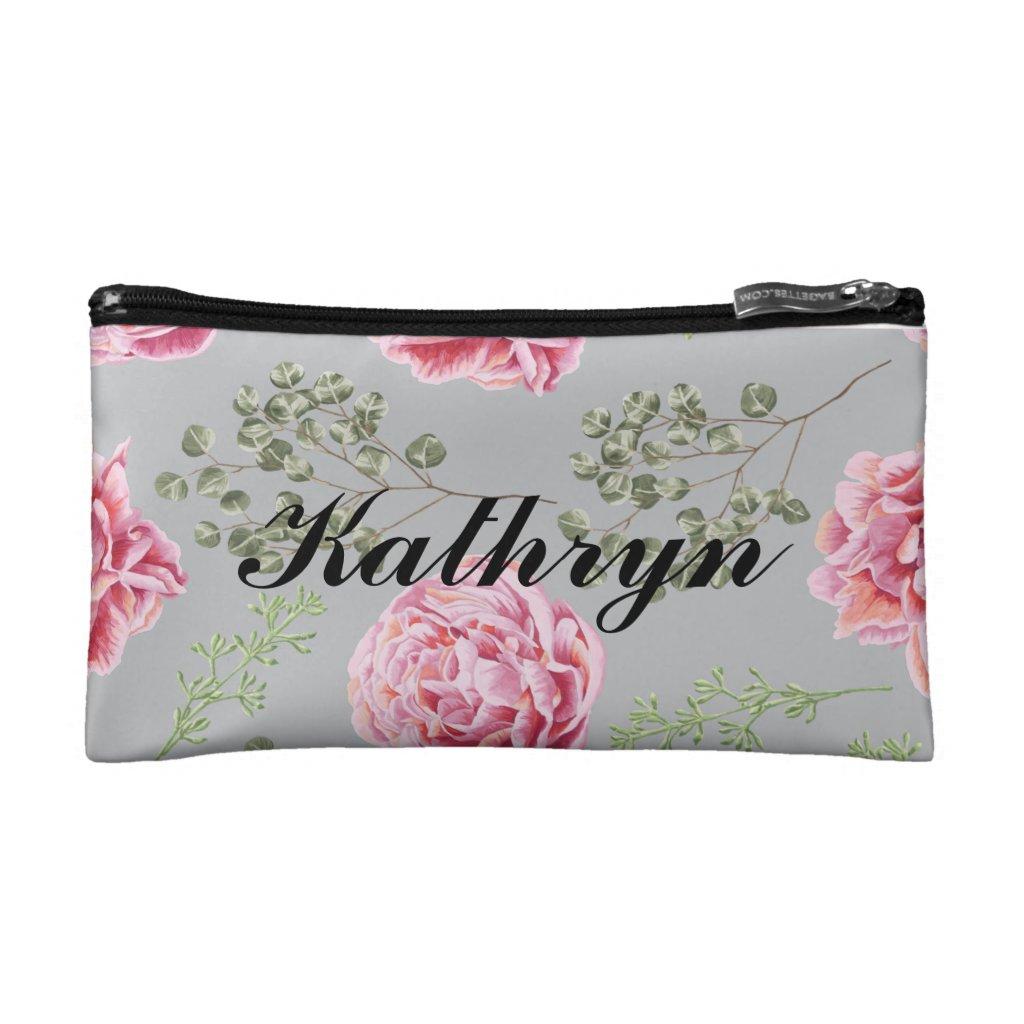 Personalised floral makeup bag