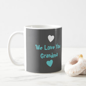 Personalised Grandma Photo turquoise grey Coffee Mug