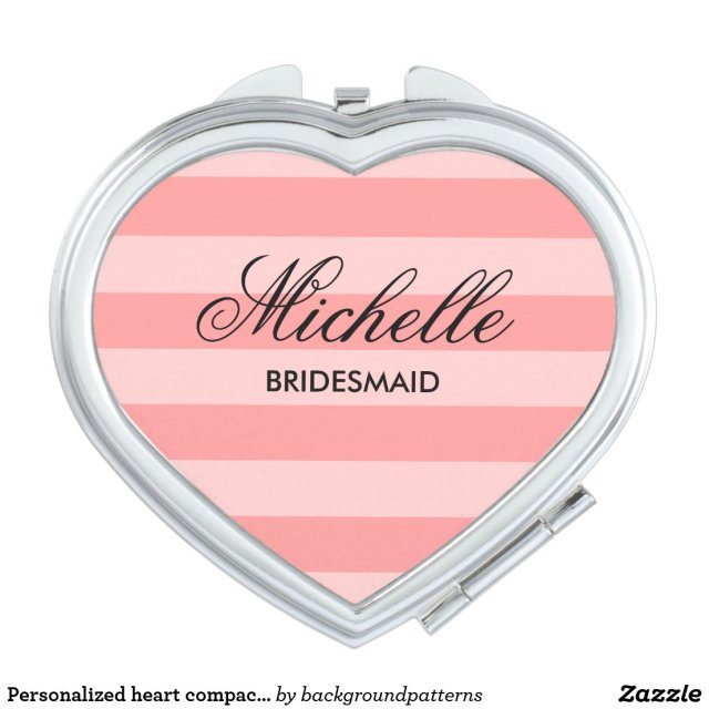 Personalised heart compact mirror for bridesmaid