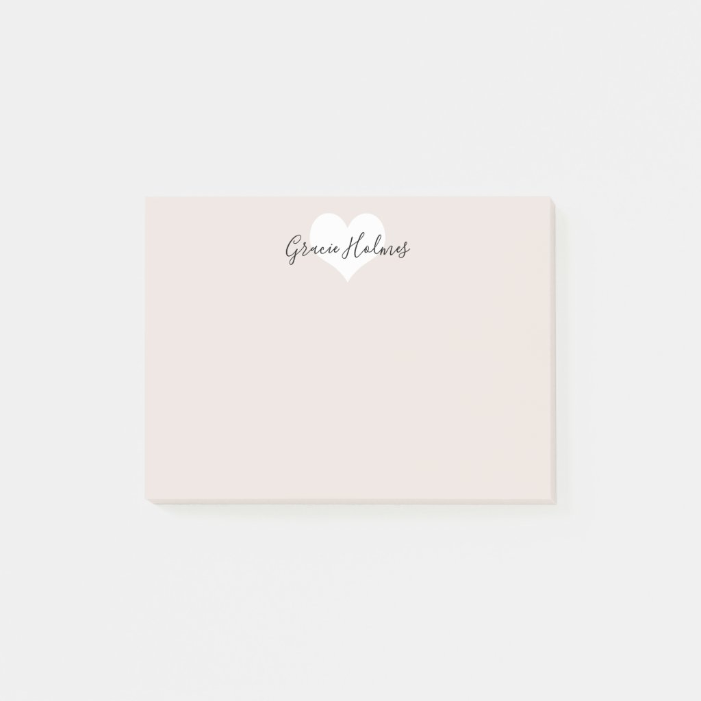 Personalised Heart Post It Notes