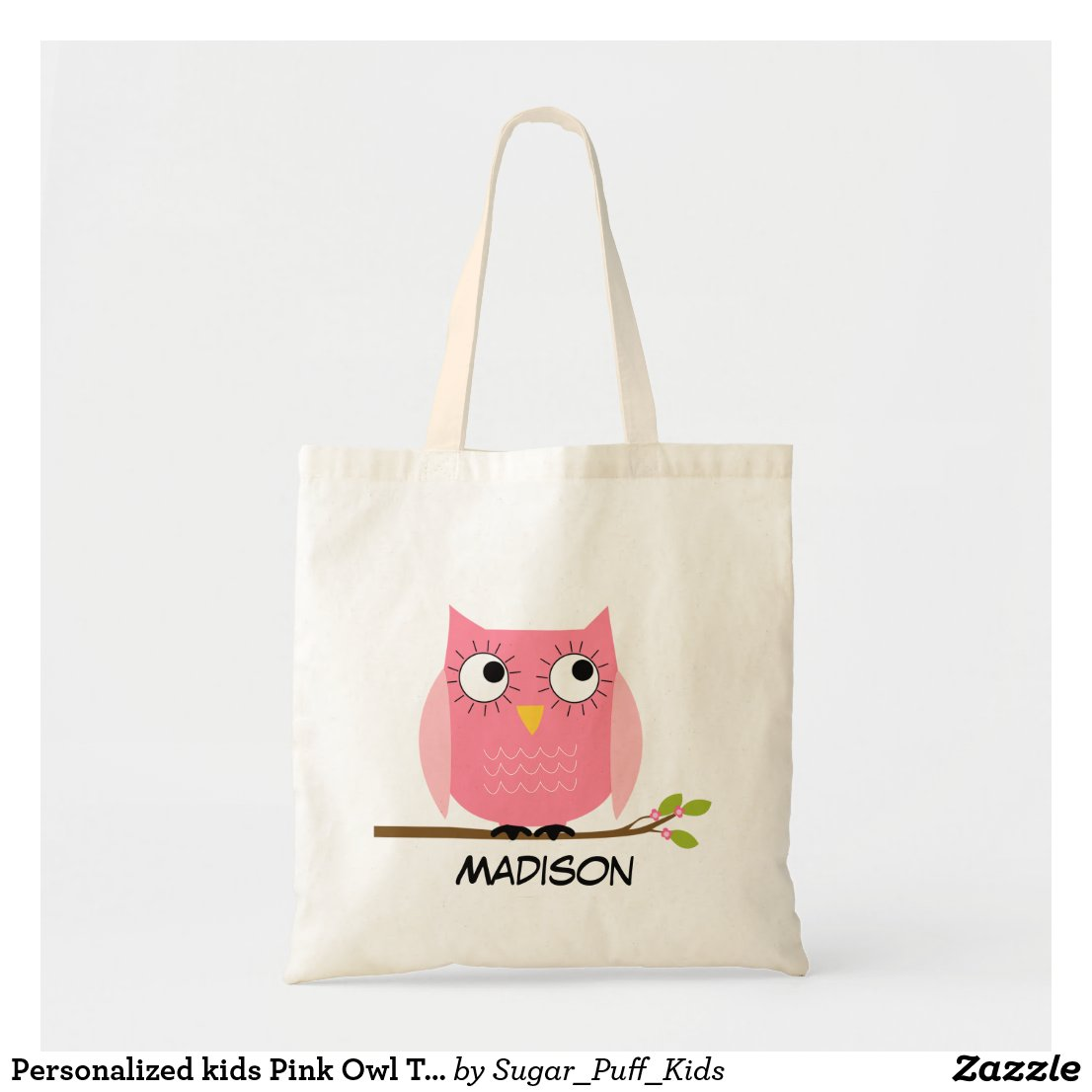 Personalised kids Pink Owl Tote Bag