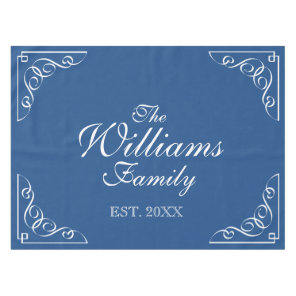 Personalised last name blue and white table cloth