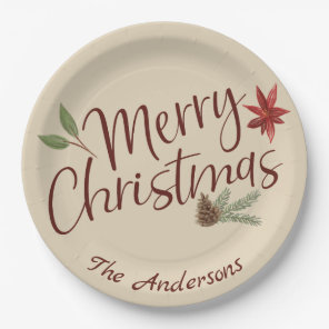 Personalised Merry Christmas Holiday Paper Plate