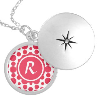 Personalised Monogram red dots pattern necklace