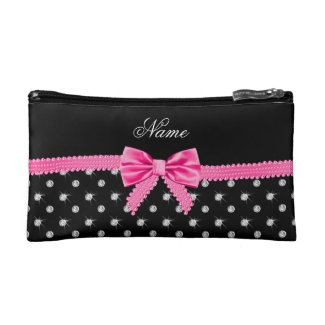 Personalised name black diamonds pink bow Cosmetic Bag