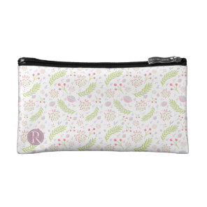Personalised Pink and Green Floral Design. Cosmetic Bag