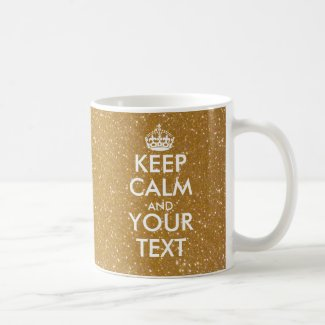 Personalised sparkly gold glitter Keep Calm Mug