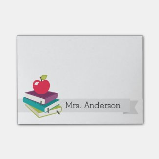 Personalised Teacher Books Apple Post-It Notes