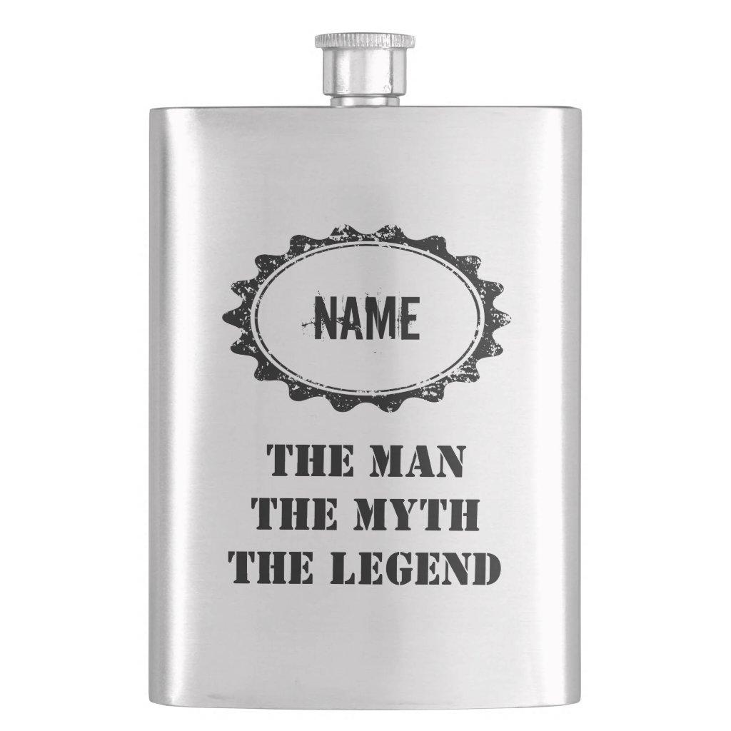 Personalised the man myth legend steel flask
