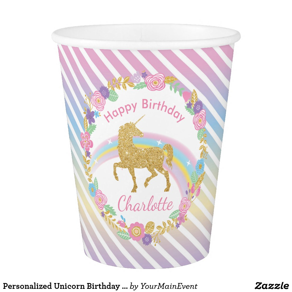 Personalised Unicorn Birthday Paper Cups
