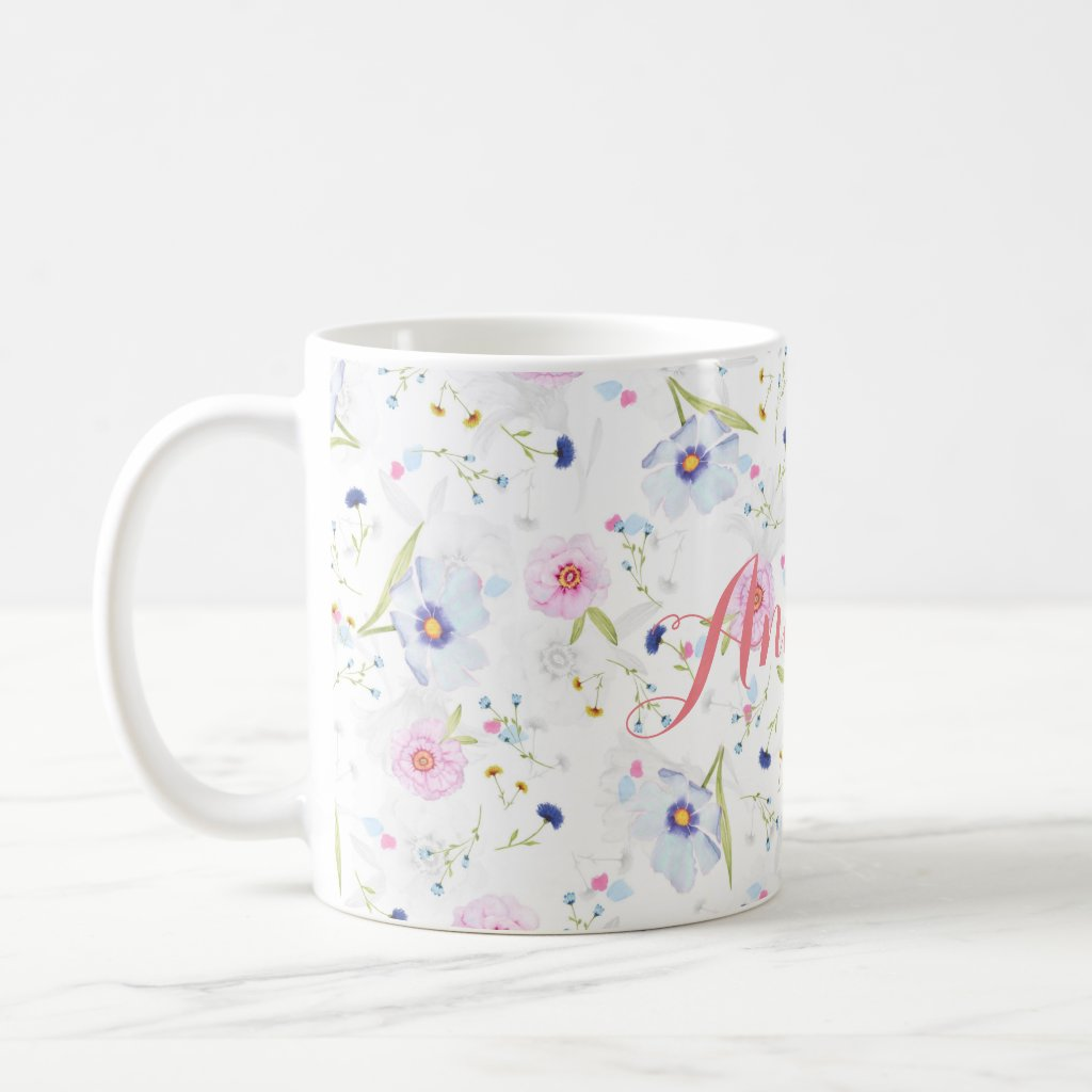 Personalised|| Watercolor floral mug