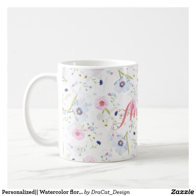 Personalised|| Watercolor floral mug